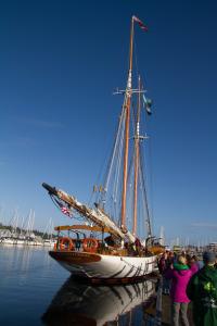 The schooner Adventuress sitting in port.