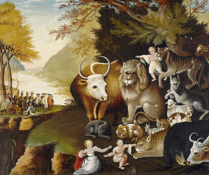 Peaceable Kingdom, oils, by Edward Hicks. Original is in National Gallery. This piece is in public domain.