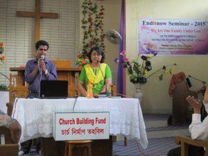 Mahuna Roy, BAUM women's ministries director, shares during an August 15 domestic violence awareness seminar in Dhaka, Bangladesh. Credit: ANN & BAUM Women's Ministries department]