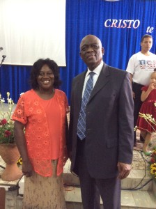 Pastor Gilma Carbonell and IAD President Pastor Israel Leito pose for a picture at the Guantanamo Central Adventist Church, in Guantanamo, Cuba earlier this month. Carbonell leads the largest church on the island with over 1,000 church members. [Credit: ANN/Israel Leito.]