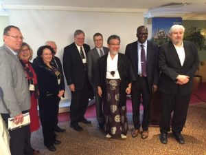 Ganoune Diop among international religious liberty leaders at the G20 Interfaith Summit in Turkey. Credit: ANN/Public Affairs and Religious Liberty]