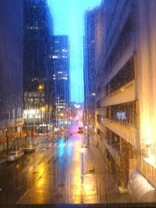 John Freedman, Washington Conference president, offered the prayer before lunch during the first day of The One Project, and he alluded to the famous Seattle rain. This is what it looked like, Sunday morning at 7 a.m., walking along a skybridge attached to the Westin Hotel, which hosted the conference.