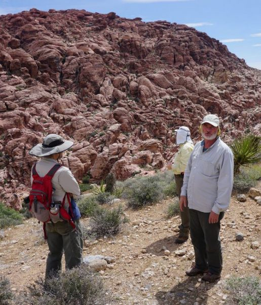 Figure 1. John McLarty (left) looks on while Gerald Bryant (right) describes an eroded Navajo Sandstone outcrop (Red Rock Canyon, NV).