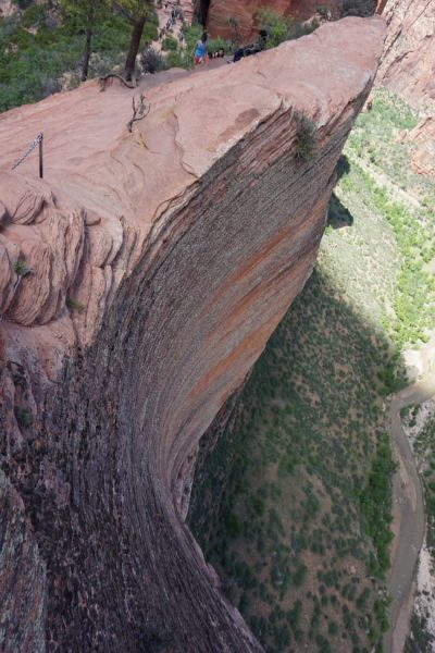Figure 18. Looking down 1500 feet of crossbedded sandstone from the Angel's Landing trail (Zion National Park, UT).