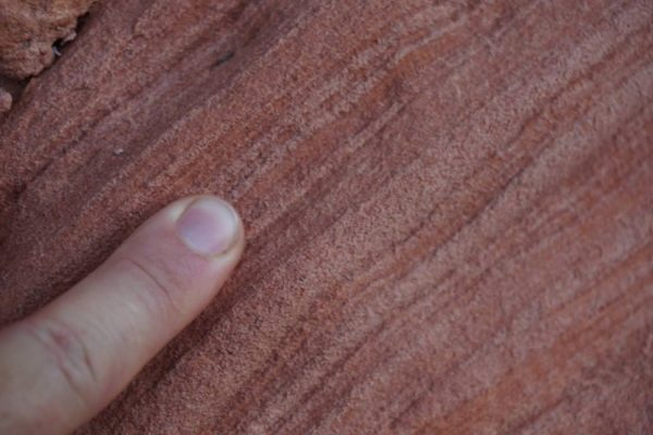 Figure 3. Close-up view of laminar structure of foresets in crossbedded Navajo Sandstone.