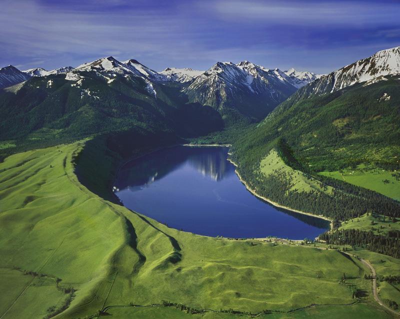 Wallowa Lake Moraines--Copyrighted permission from David Jensen photographer, djensen@eoni.com