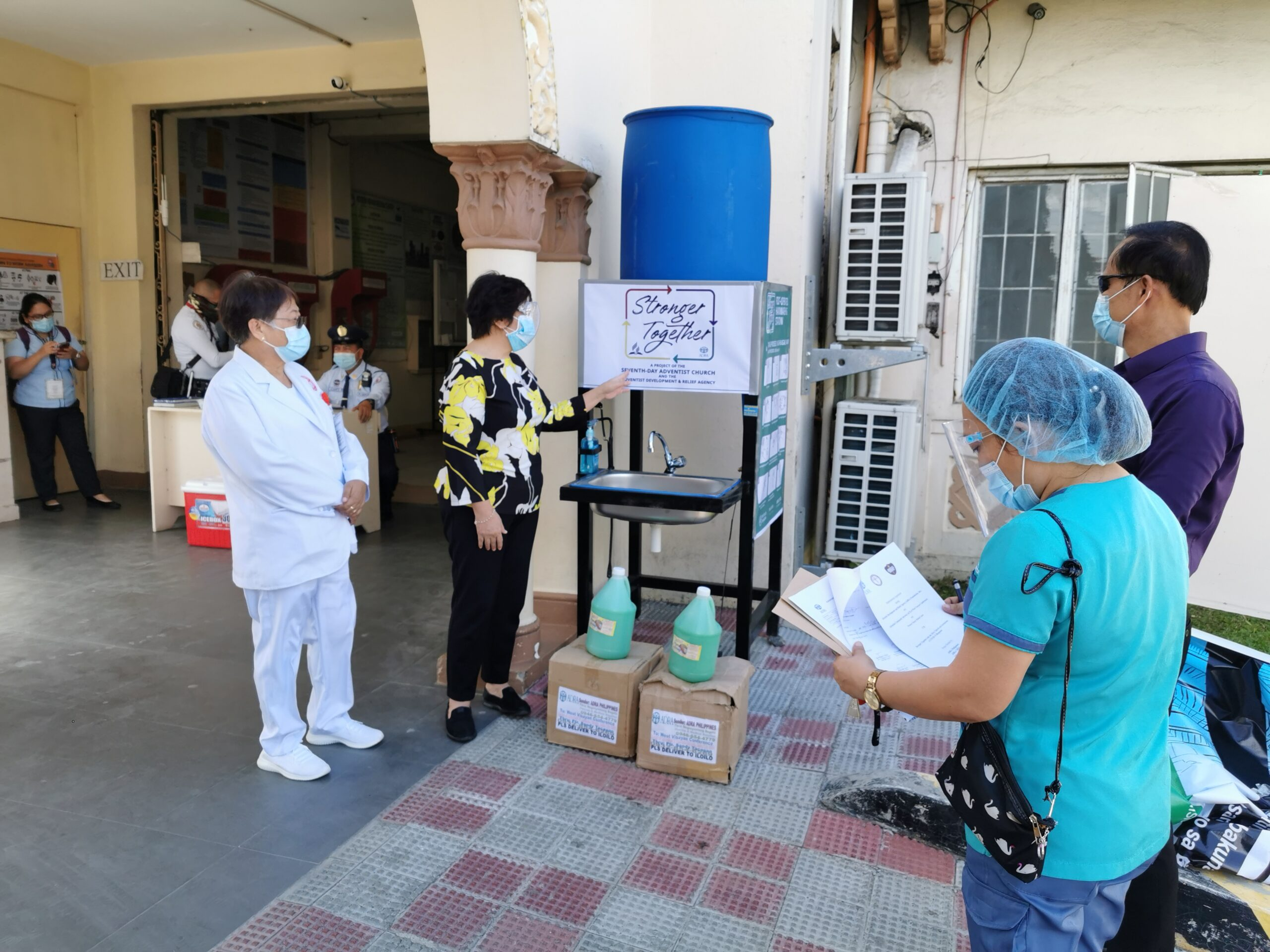 Hand-washing stations were provided by the Adventist Church and ADRA to local health facilities, like the Western Visayas Medical Center in Iloilo, Philippines. Demonstrations on how they were used were also included. (Photo courtesy of: ADRA in the Philippines)